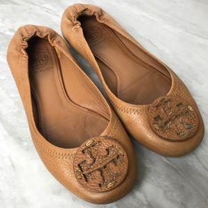 Tory Burch Cognac Pebbled Leather Reva Flats